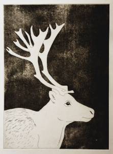Original etching A/P. Framed with thin black frame, framed size 50 x 70cm. Framed £165.
