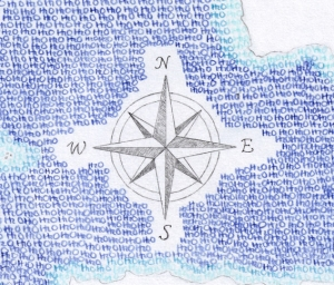 Close up of Compass and repeated H20's.