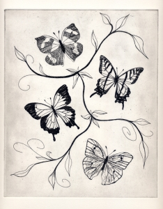 Original Butterfly Etching, A/P. Print size 24 x 20cm.  SOLD