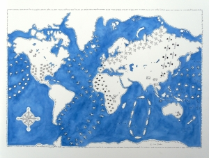 World Map. Watercolour and Pen on Paper, 45 x 65cm. Framed £600. SOLD